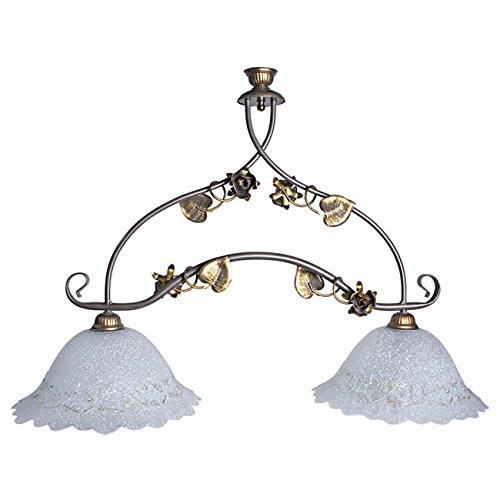 Bilancia 2 luci in metallo effetto anticato lampadario a sospensione design