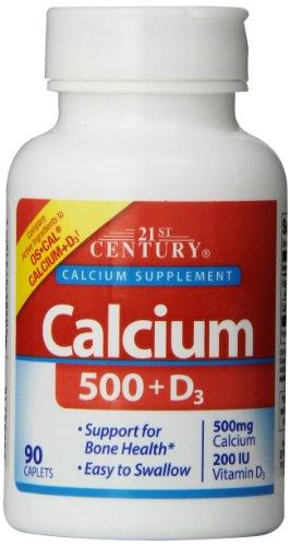 21St Century Calcium Plus D Caplets, 500 Mg, 90 Count (Pack Of 3)