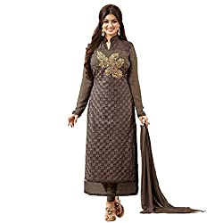 Charming Brown Embroidered Salwar Suit with Dupatta