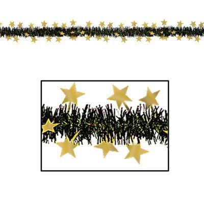 FR Metallic Star Garland (black & gold) Party Accessory  (1 count) (1/Pkg)