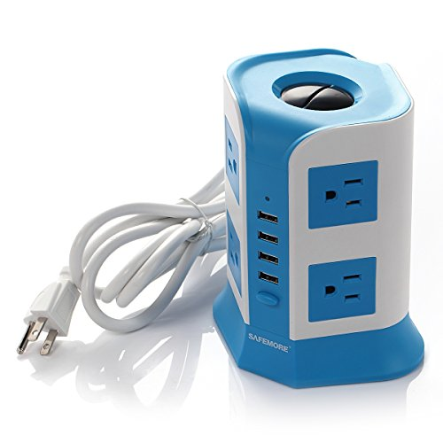 SAFEMORE Smart 8-Outlet with 4-USB Output Surge Protection Power Strip (Blue and White)