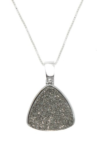 Sterling Silver Trillion Cut Genuine Moonbeam Silver Drusy Pendant Necklace front-582332