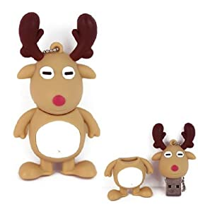 16GB Novelty Cute Christmas Rudolph Reindeer USB Flash Key Pen Drive Memory Stick Gift UK
