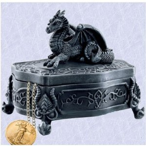Gothic Medieval Dragon Lidded Jewelry Box (The Digital Angel)