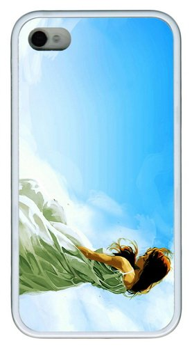 For Cheap Cases Missing Beats Of Life Alone Girl Blue Sky Art Tpu White Case For Iphone 4/4S