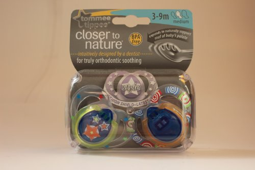 Tommee Tippee Closer To Nature Style Soothers 3-9M (Boy) front-828359