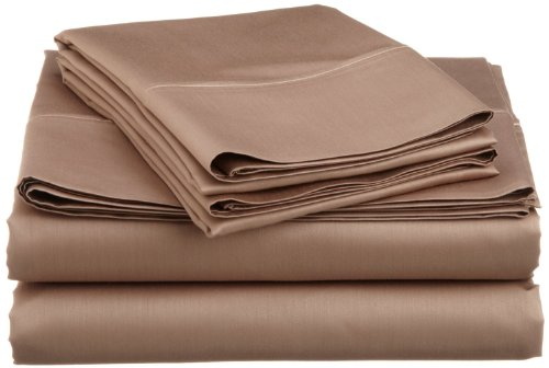 Sale 1-Piece Extra Deep Pocket Fitted Sheet Fit Upto 32 Inches Deep Pocket Queen Size Taupe Solid Egyptian Cotton---400 Thread Counts front-1050529