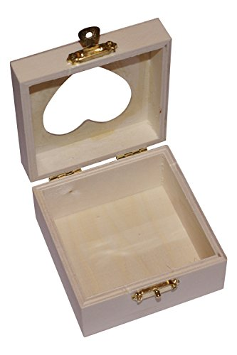 Wooden Craft Trinket Gift Box with Heart Shaped Window