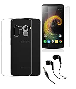Lenovo Vibe K4 Note MOCELL Transparent Hard Back Case Cover With Tempered Glass Screen Protector & 3.5mm Super Sound Quality Earphone with Mic Combo