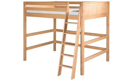 Camaflexi Panel Style Solid Wood High Loft Bed, Full, Side Angled Ladder, Natural (Loft Beds Full compare prices)