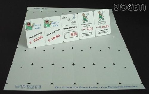 Bogeti étiquettes 190 g/m ² en carton (enso 100 feuilles a4): 35 x 53 mm