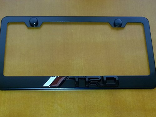 TRD Black 3D Metal License Frame with screw caps included (Black Trd License Plate Frame compare prices)
