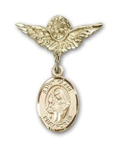 14K Gold Baby Badge with St. Clare of Assisi Charm and Angel with Wings Badge Pin
