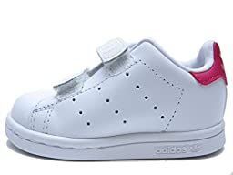 adidas Originals Girls\' Stan Smith CF I Sneaker, White/White/Bold Pink, 8 M US Toddler