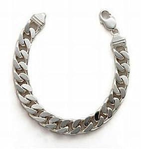 Mens Plain Diamond Cut Curb Bracelet Silver 30cm Length Model Sc3069