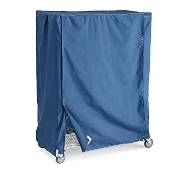 "Wire Truck Covers - Blue - Fits 48""Wx24""Dx62""H Shelf Trucks - Coated Waterproof, Dustproof, And Antimicrobial Vinyl-Nylon Material - Blue"