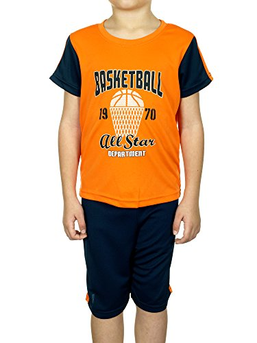 Turtle Bay Boys 2-piece Printed Shirt & Shorts Set (5/6, Orange/Navy Blue) (Men Swim Trunks Captain America compare prices)