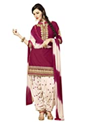 Sky Fashions Women's Cotton Pink Top Unstiched Salwar Suit Chiffon Cream Dupatta Material