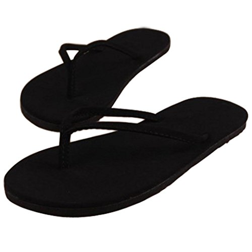 Tenworld Women Summer Shoes Clip Toe Sandals Slipper Indoor Outdoor Flip-Flops (6.5, Black)