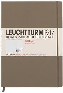 LEUCHTTURM1917 344672 Skizzenbuch Master (A4+) mit reinweißem, extra starkem 180 g/m² Papier, 96 Seiten, taupe