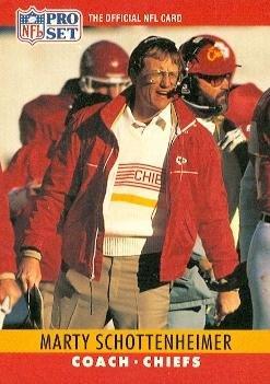 Marty Schottenheimer Football Card (Kansas City Chiefs) 1990 Pro Set #148