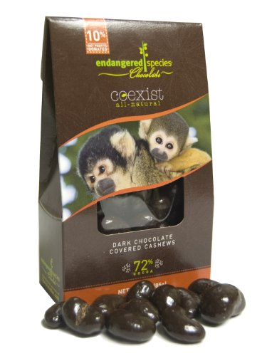 Endangered Species Chocolate Co-Exist Pouch,Dark Chocolate Covered Cashews (Squirrel Monkey), 3-Ounce Pouches (Pack of 6)
