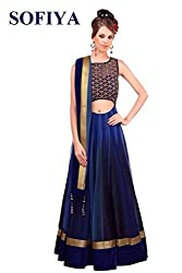 Vadaliya Enterprise Women's Georgette Embroideredblue Lehenga Choli
