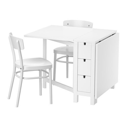 Ikea Table and 2 chairs, white, white 10204.2058.1430 (Norden Gateleg Table compare prices)