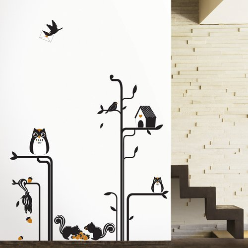 Modern House Owls Squirrels Tree removable Vinyl Mural Art Wall Sticker Decal