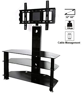 tv stand 3 shelf cantilever glass with tv wall bracket mount for 30 50inch led lcd smart 3d. Black Bedroom Furniture Sets. Home Design Ideas