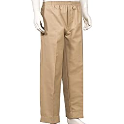 Mens Full Elastic Waist Pants with Mock Fly (S, Khaki)