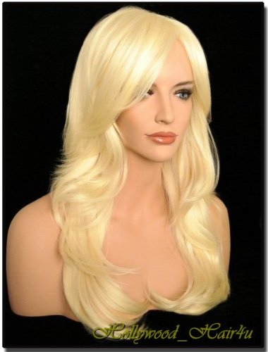 Hollywood_hair4u - Long Curly #613 Platinum Blond Wig Kanekalon Heat Resistant Synthetic Fiber with Packed Roots Top*NEW*