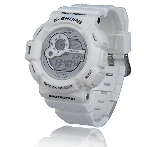 Vktech Digital Man Boy Wrist Watch Rubber Watchband Adjustable Casual Style (White)