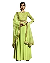 Shoppingover Indian Bollywood Embroidered Gown Style Anarkali Suit in Sea Green Color
