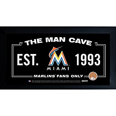 Wholesale Miami Marlins Man Cave Framed 10x20 Sign w Authentic Game-Used Dirt Capsule MLB Auth) , [Sports, Miscellaneous]