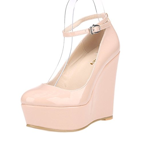 ZriEy Women's Sexy Platform Exclusive Wedges High Heels Pumps Party Casual Shoes Patent Leather Nude size 5