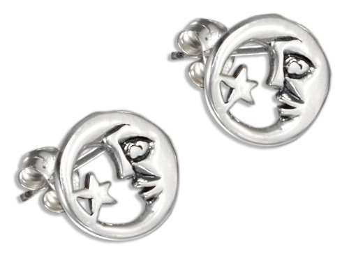 Sterling Silver Mini Man in the Moon and Star Earrings.