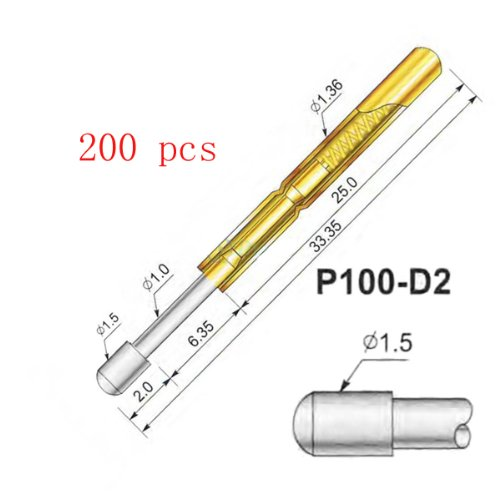 200 Pcs P100-D2 Test Probe Metal Golden Yellow Detector Instrument To Detect The Needle Pogo Pin