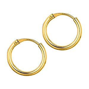 10k Yellow Gold 1x10mm Polish Small Endless Round Hoop Earrings - Higher Gold Grade Than 9ct Gold