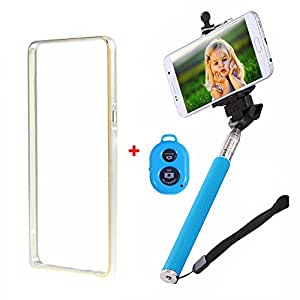 Dual Tone Circular Arc Shaped Metal Bumper Case Cover For ONE PLUS ONE With Skyblue color Bluetooth Remote Shutter Monopod Selfie Stick