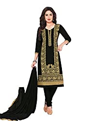 RK Fashion Womens Cotton Un-Stitched Salwar Suit Dupatta Material ( RAJGURU-PAHELI-9270-Black-Free Size )