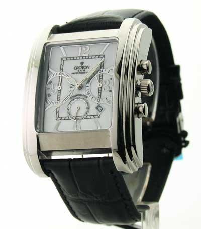 Mens Croton Leather Chrono 3 Eye Date Watch CC311211BSDW