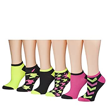 Tipi Toe Women's 6 Or 12 Pack Colorful Patterned No Show Socks (12-pack, FB12-6)