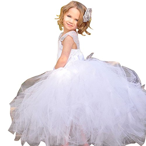Girls Kid Wedding Dress Flower Girls Dresses Mesh Tutu Princess Dress without Headband