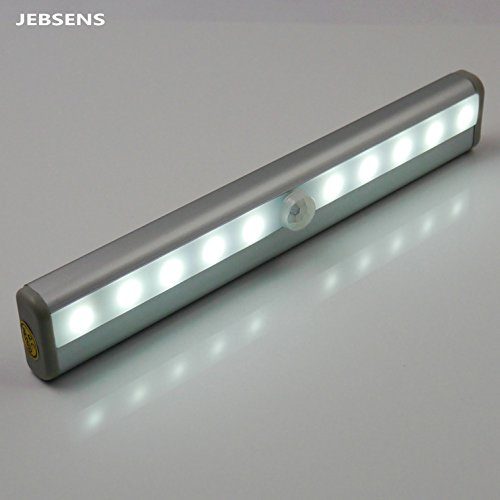 Jebsens - New Battery Operated Cool White Under-Cabinet Light With Pir Ir Infrared Wireless Motion Sensor, Great For Closet, Under-Cabinet, Bar Light Lamp, 10 Super-Bright Led
