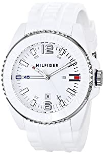 Tommy Hilfiger All White Analog Rubber Band Plastic Mens Watch 1791044
