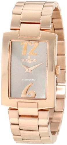 Lancaster  Women's OLA0509GUN Portofino Silver Dial Rose Gold Tone Ion-Plated Stainless Steel Watch