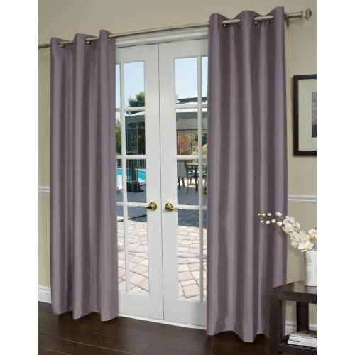 ... com - Jaclyn Love Shantung Curtain, Onyx Grey - Gray Thermal Curtains