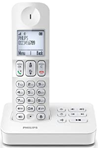 Philips D4051W/FR Téléphone fixe sans fil avec répondeur + mode silence Blanc