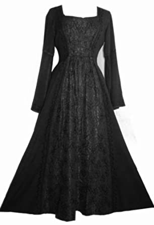 #007 LACE WEDDING VAMPIRE GOTHIC RENAISSANCE DRESS (Large, Black)